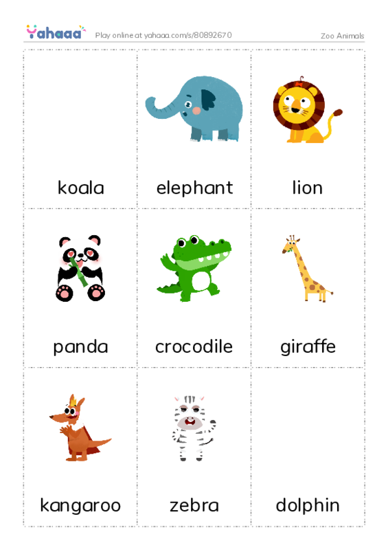 Zoo Animals PDF flaschards with images