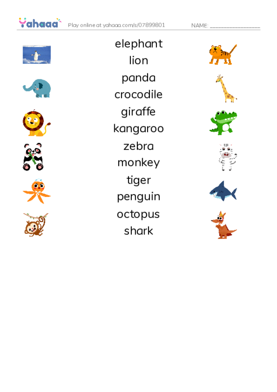 Zoo Animals PDF three columns match words