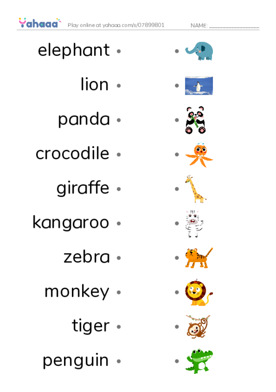 Zoo Animals PDF two columns match words