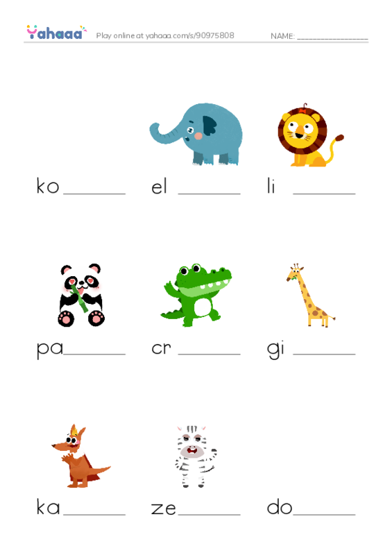 Zoo Animals PDF worksheet writing bottom