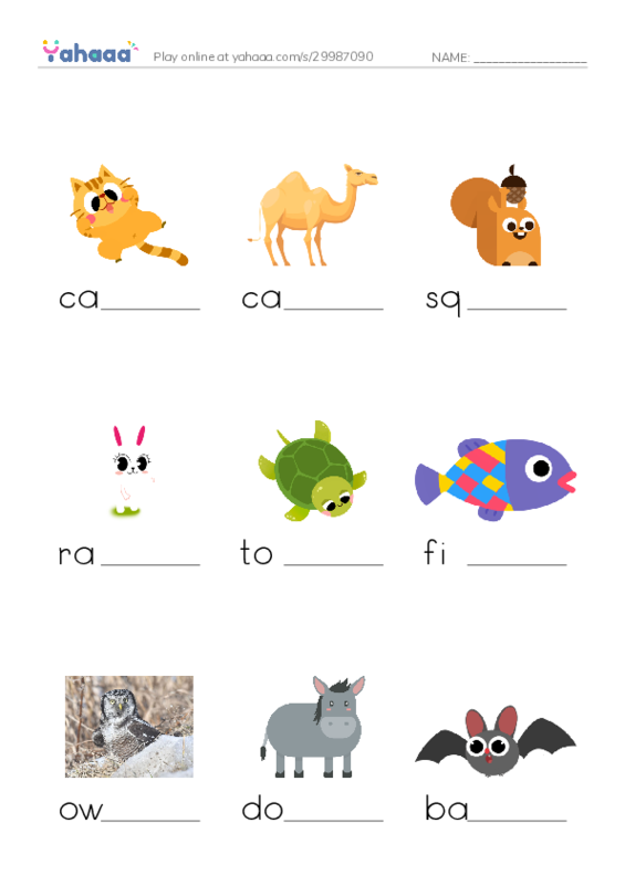 Animals Around Us PDF worksheet writing bottom