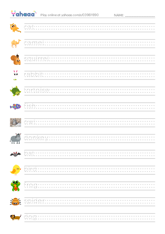 Animals Around Us PDF worksheet writing with lines