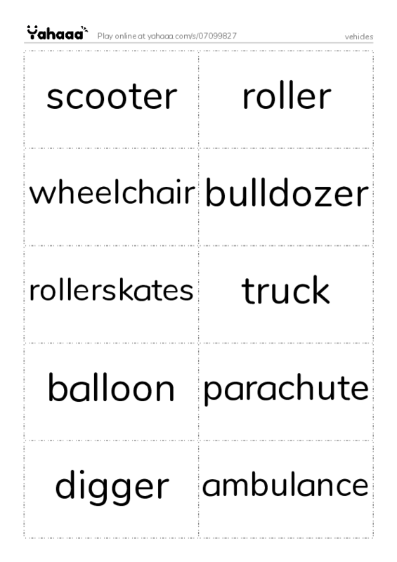 vehicles PDF two columns flashcards