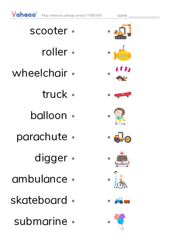 vehicles PDF two columns match words