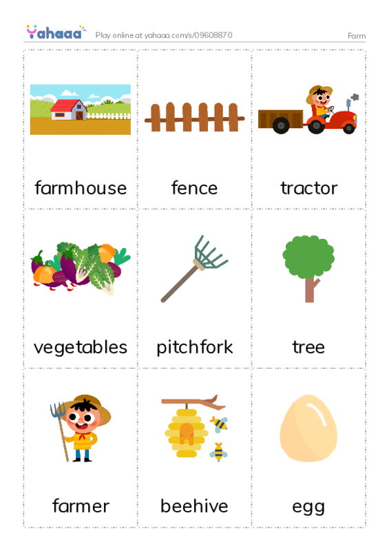 Farm PDF flaschards with images