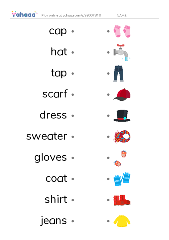 Clothes PDF two columns match words